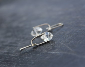 Sterling silver and herkimer diamond quartz dangle earrings, raw, organic, stirrup, modern, minimalist, geometric, sparkly, petite earrings