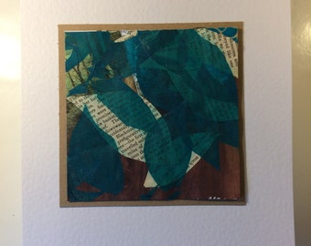 Mixed Media Collage of a Forest, one of a kind work of art, Mounted and ready to frame. CroppedCreation
