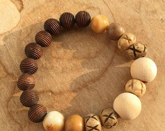 Natural Wood Bead Bracelet/ Stretch Bracelet