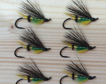 Six Hand Tied Green Highlander Atlantic Salmon Flies