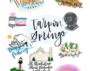 Tarpon Springs Calligraphy Print