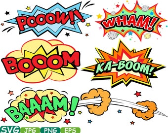 Comic Book Cutting Files Superheroes clipart  Pop Art Text Props Super hero Speech Bubble Party Bunting Digital svg eps png jpg Vinyl -275S