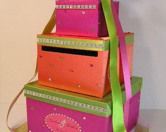 Wedding / Sweet 16 Card Box Gift Card Box Hot Pink,Lime Green and Orange  Money Box  Holder--Customize in your color-Custom Made