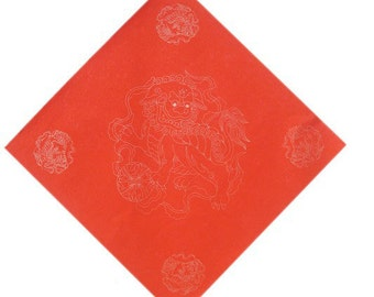 Chinese Calligraphy Material  34x34cm Red Xuan Paper Couplets / Square / Golden Lion / 1 Piece - 0013C
