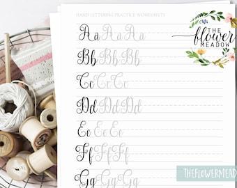 worksheets lettering practice, Learn lettering guide, alphabet calligraphy tutorial, printable worksheets, brush lettering, modern 08