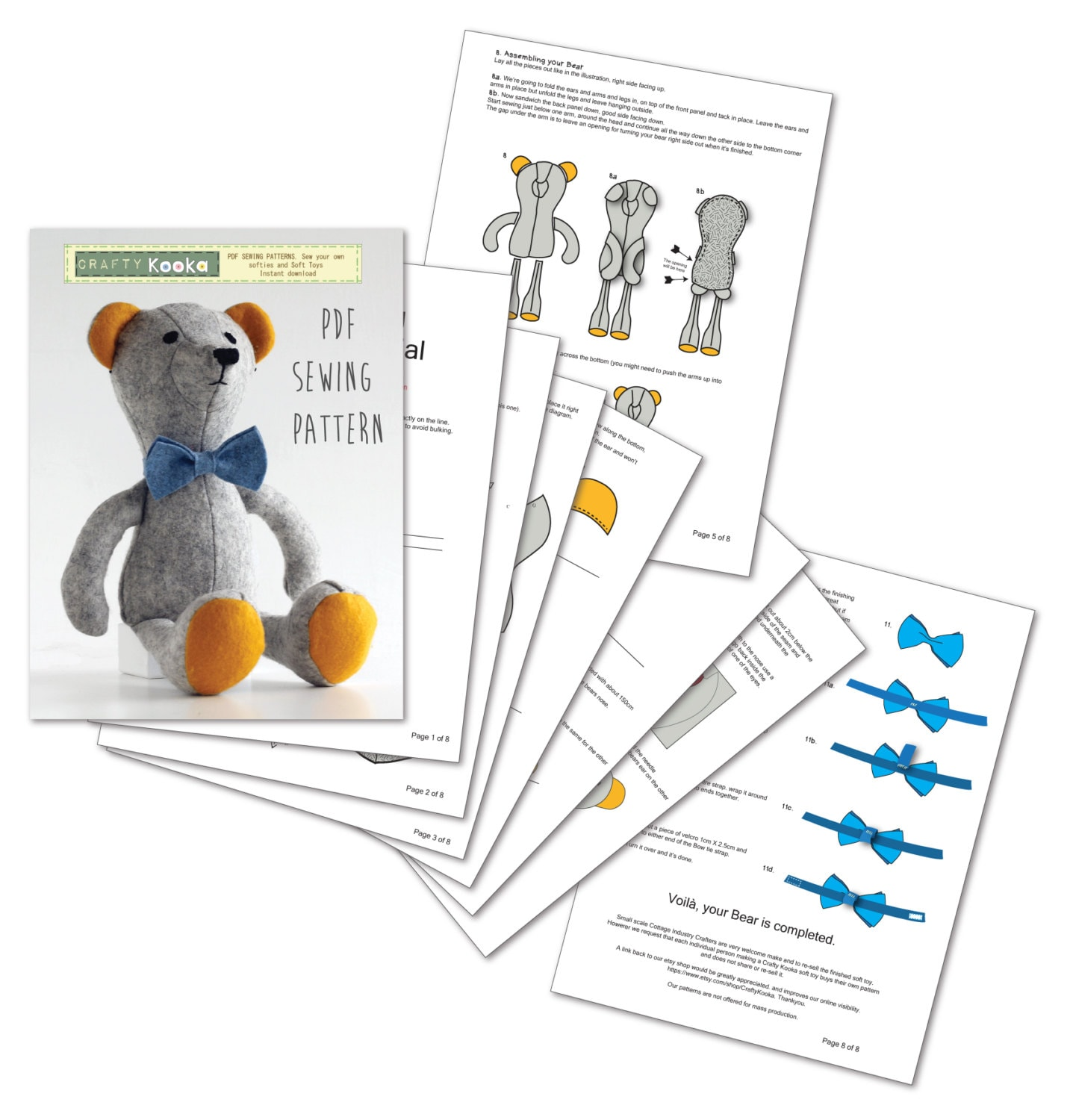 Bear sewing pattern memory bear pattern sew your own soft toy this is a digital file jeuxipadfo Choice Image