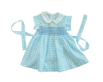 70s vintage blue and white plaid smocked dress size 1 month