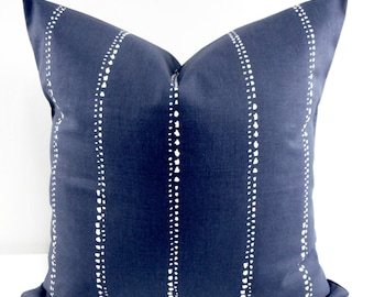Indigo Pillow cover. Carlo. Vintage indigo dotted stripe  Throw pillow cover. Euro pillow case. Select size