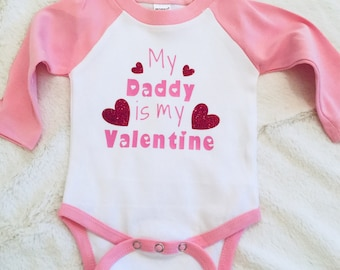 My Daddy is my Valentine Baseball T-Shirt/Valentines Day/Love/Hearts/Glitter/Daddy's Girl