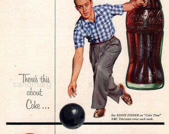 Eddie Fisher Vintage Coke Time Bowling Print Advertisement 1954