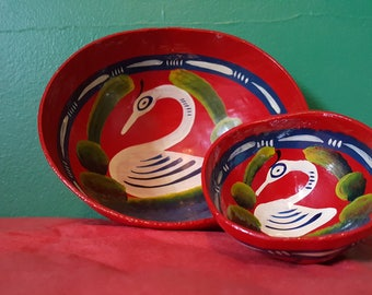 Pair of Paper Mache Bowls--Swan and Flower