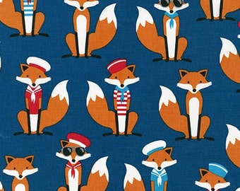 Changing Pad Cover | Navy Blue and Foxes
