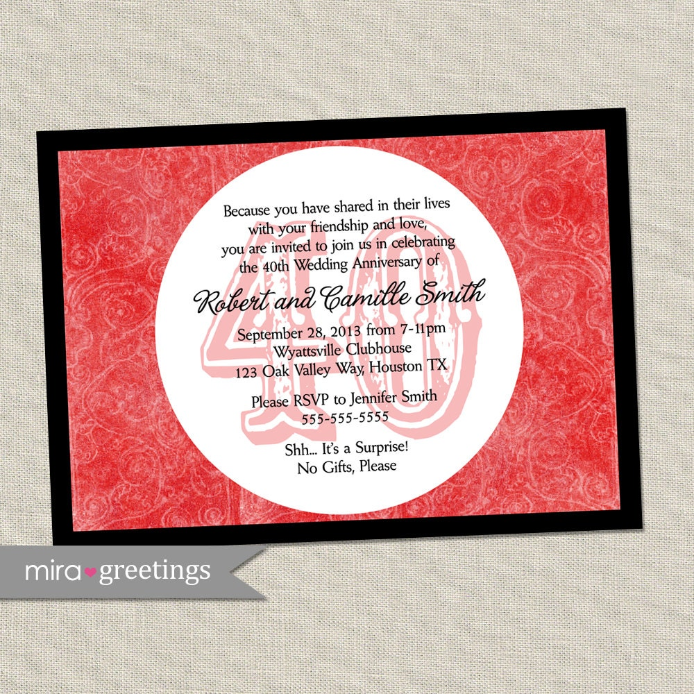 40th Anniversary Invitation Ruby Red Wedding Anniversary