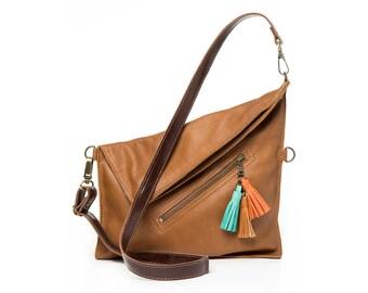Leather crossbody bag for women, brown cross body purse, fold over bag purse, Brown leather crossbody purse, medium shoulder bag,