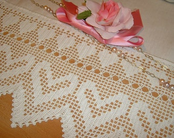 Lace crochet with hearts in white cotton-lace edging in filet-edging for curtains and tablecloth-lace handmade-made to order