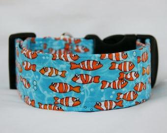 Clownfish- School of Fish Adjustable Buckle-Martingale Dog Collar-Small-Large Breed Dog-5/8 - 1 inch 1.5 -2 inch width-Traffic-Dog Leash
