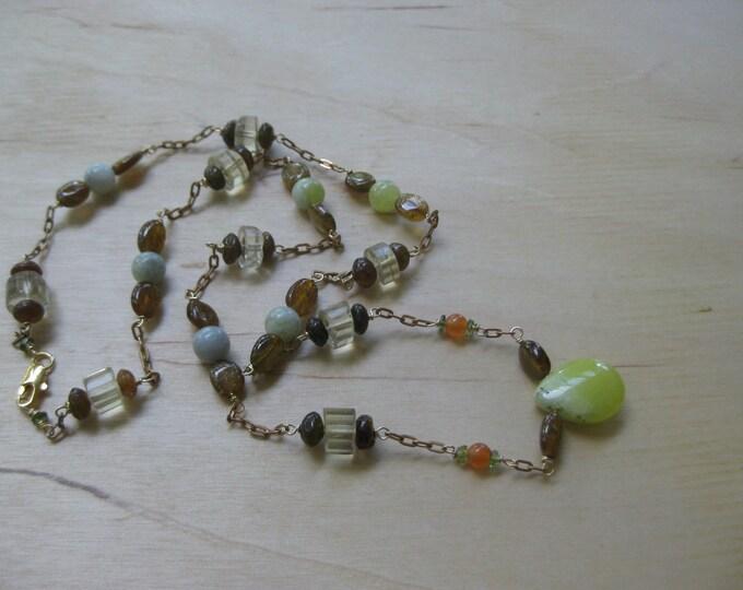 Insouciant Studios Autumnal Necklace Tourmaline Lemon Quartz