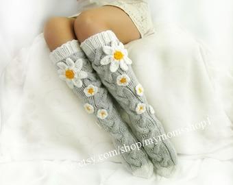 Camomile socks flower knee socks, knit socks womens, Hand knit knee socks, Flower socks, woman leg warmers, Wool socks, Hand knit wool socks