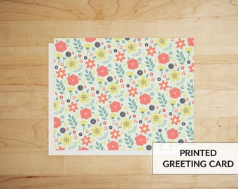 Pink and Yellow Floral Pattern | Greeting Card