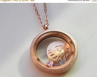 ON SALE Floating Locket Necklace, Rose Gold Locket, Personalized Locket, Grandma Necklace, Nana Gift, Mom Necklace, Grandma Jewelry Gift