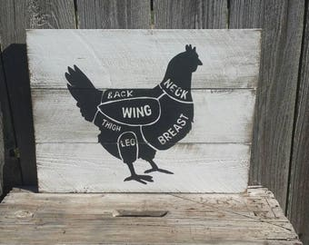 Butcher Cut Chicken Pork Beef Lamb Rustic Sign Wood Wall Art Farmhouse Kitchen Sign