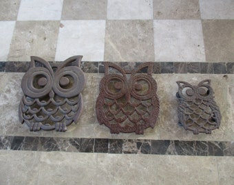 Vintage 3 Lot Owl Trivets from Taiwan 1950's