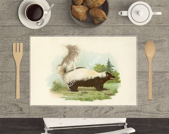 """Laminated Wildlife Placemat """"Skunk"""" - Rustic Table Decor - Bird Placemat - Camping Table Decor - Country Living Placemats - Kitchen Gift"""