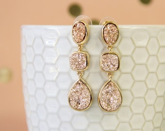 Rose Gold Three Druzy Drusy Stone Earrings, Bridal Earrings, Bridesmaid Earrings, Rose Gold Druzy Earrings -2054