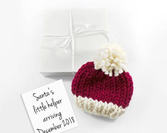 Christmas Pregnancy Announcement, December Baby Reveal, Santa Hat Grandparent Reveal, Gift Set