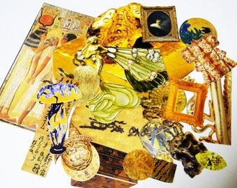 Collage kit, color coordinated,gold and yellow themed vintage paper Ephemera-Collage,Art Journaling,Planner Decor,Mixed Media ,Papercraft