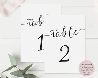 Printable Black Table Numbers - Tables 1-45 - Calligraphy Style Script - Wedding and Party - Instant Download PDF - 5x7 inches - #GD0715