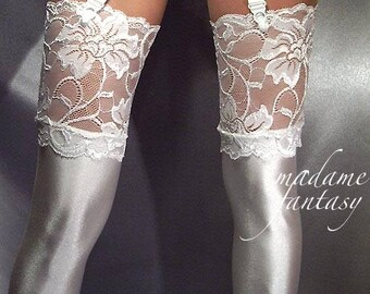 Ivory shiny spandex stockings with lace top