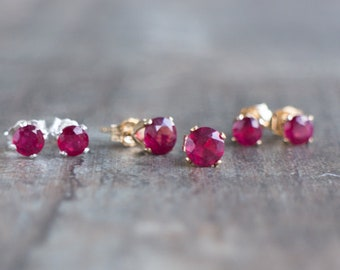 Ruby Ear Studs - July Birthstone