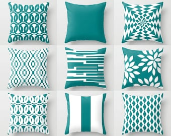 Throw Pillows,  Decorative Pillows, Teal Pillow Covers, Euro Sham Cover, Pillow Cases, Cushion Cover, Home Decor Decorative Pillows