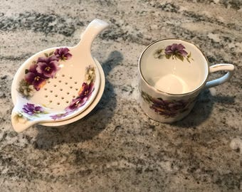 Allyn Nelson Collection Fine Bone China Demitasse Teacup with Tea Bag Strainer and Saucer, Made in England, English Tea, Item #558633774