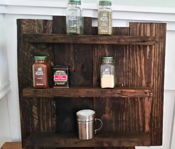 Woodworking Plans For Kitchen Spice Rack: Rustic Wooden Spice Rack Reclaimed Wood Hanging Spice Rack