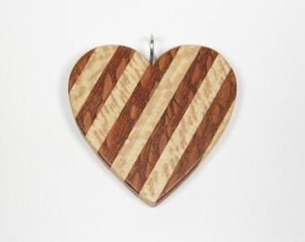 Wooden Heart Pendant, Wood Heart Pendant, Mosaic Pendant, Wood Pendant, Wooden Pendant, Heart Necklace, Wooden Mosaic, Striped Pendant