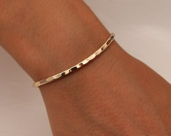 Hammered Cuff Bracelet, 14K Yellow Gold Filled (351.ygf)