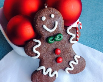 Gingerbread Man Christmas Ornament, White, Red, Green, Brown, Vanilla Icing, Faux Cookie, Fake Food, Winter Decoration, Candy Buttons