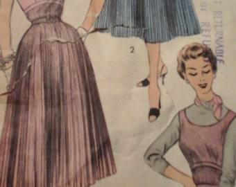 Rare 1950s Advance 6878 Dress or Jumper and Skirt Pattern, size 10