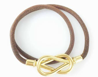 Hermes Gold Plated Knot Closure Bracelet or Choker