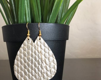 Champagne gold leather teardrop earrings / metallic gold leather earrings with snake texture / genuine leather