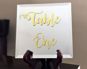 Mirror Wedding Table Numbers, Table Sign, Wedding Seating Numbers, Wedding Table Decor, Wedding Mirror Signs, Mirror Sign, Wedding Mirrors