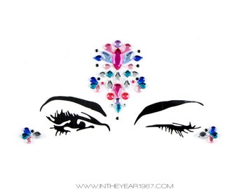Face gems, stick on body jewels, bindi stickers, festival rhinestones, jewelry, festivals, sticky jewels, glitter, sparkle, halloween party