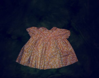 Baby girl Vintage Polly Flinders dress 12 months yellow floral print made in USA