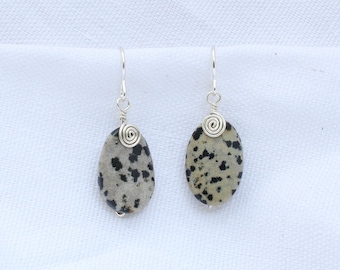 Wire Wrapped Dalmatian Jasper Earrings