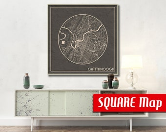 CHATTANOOGA TN SQUARE Map Chattanooga Tennessee Poster City Map Chattanooga Tennessee Art Print Chattanooga Tennessee poster Chattanooga map