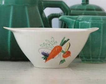1960 kitchen: French  Porcelain bowl, vegetables, artichokes and carrots, 60s retro children soup bowl, cafe au lait bowl