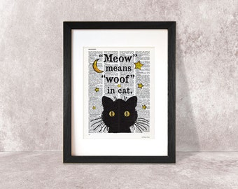 Cat print-funny cat print-quote print-Cat on book page-Funny animal print-cat dictionary print-cat poster-home decor-NATURA PICTA-NPDP065