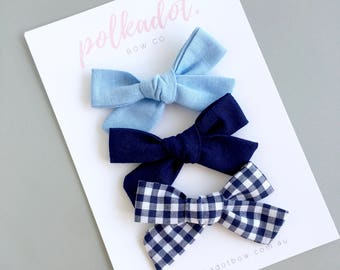 Blue Bows | Toddler Hair Bows | Baby Clips | Blue Bow Hair Clips OR Headbands | Baby Bows | Blue Bow Hair Bows | Toddler Hair Clips | Bows